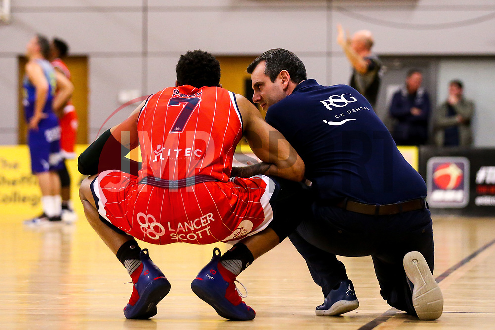 Bristol Flyers head coach Andreas Kapoulas and Justin Gray of Bristol Flyers - Photo mandatory by-line: Robbie Stephenson/JMP - 29/03/2019 - BASKETBALL - English Institute of Sport - Sheffield, England - Sheffield Sharks v Bristol Flyers - British Basketball League Championship