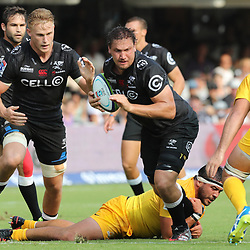 Etienne Oosthuizen of the Cell C Sharks during the Super Rugby match between the Cell C Sharks and the Jaguares  April 8th 2017 - at Growthpoint Kings Park,Durban South Africa Photo by (Steve Haag)