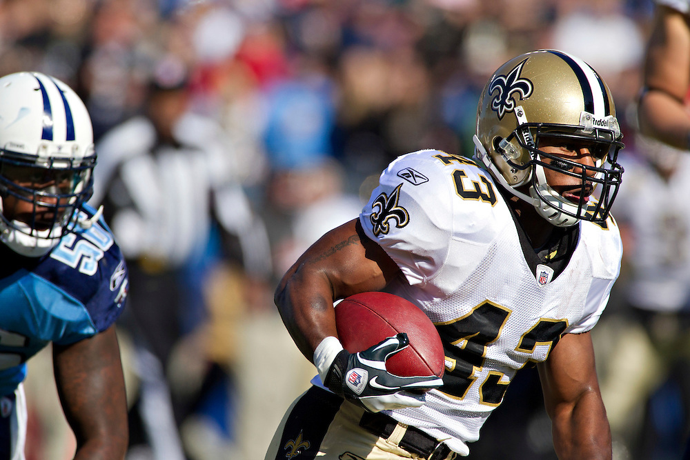 NASHVILLE, TN - DECEMBER 11:   Darren Sproles #43 of the New Orleans Saints runs the ball against the Tennessee Titans at LP Field on December 11, 2011 in Nashville, Tennessee.  The Saints defeated the Titans 22-17.  (Photo by Wesley Hitt/Getty Images) *** Local Caption *** Darren Sproles