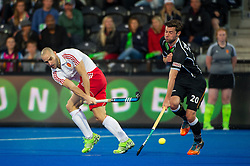 England's Nick Catlin cross is blocked by Martin Zwicker of Germany. England v Germany - Semi-Final Unibet EuroHockey Championships, Lee Valley Hockey & Tennis Centre, London, UK on 27 August 2015. Photo: Simon Parker