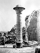 Karnak temple complex at Thebes (Luxor). Photograph of column in first court of the Temple taken during the French archaeological mission to Egypt led by Emmanuel Rouge (1811-1872).   Ancient Egyptian