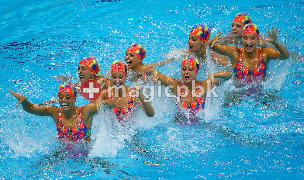 Team Canada performs in the Teams Free Routine Final during the Synchronized (Synchronised) Swimming competition held at the Aquatics Center during the London 2012 Olympic Games in London, Great Britain, Friday, Aug. 10, 2012. (Photo by Patrick B. Kraemer / MAGICPBK)