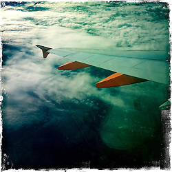 easyjet in flight..Hipstamatic images taken on an Apple iPhone..©Michael Schofield.