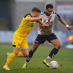 TELFORD COPYRIGHT MIKE SHERIDAN 19/1/2019 - Brendon Daniels of AFC Telford takes on Lee Vaughan of Kidderminster(formerly of AFC Telford) during the Vanarama Conference North fixture between AFC Telford United and Kidderminster Harriers