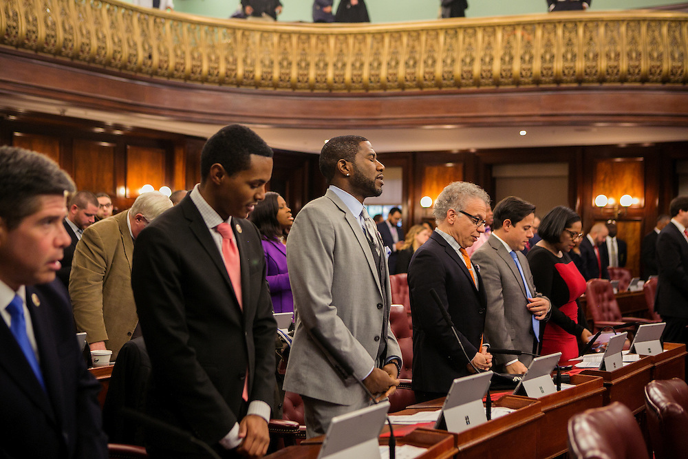 """NEW YORK, NY - OCTOBER 27 2016: New York City Councilman for the 45th District Jumaane Williams stands and sings """"Lift Every Voice and Sing,"""" also referred to as the Black National Anthem at the beginning of a City Council hearing at City Hall in New York, New York. CREDIT: Sam Hodgson for The New York Times."""