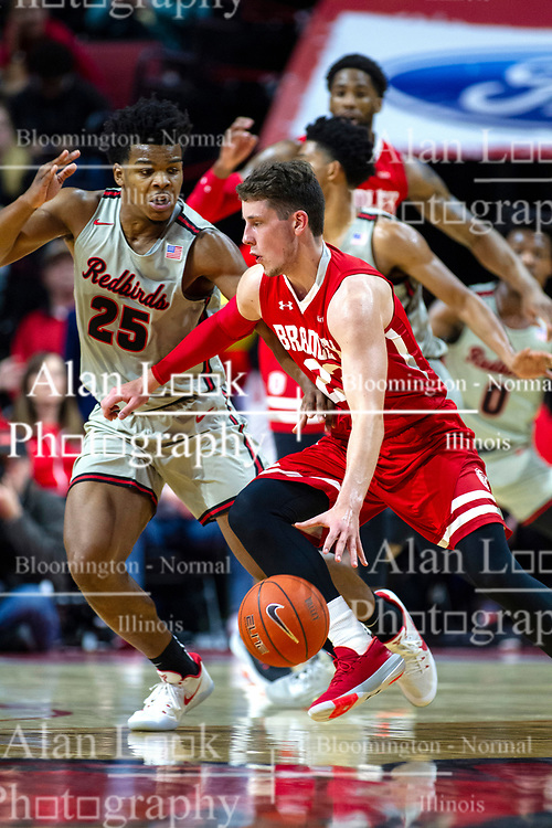 NORMAL, IL - February 26: Jaycee Hillsman defends Ville Tahnanainen during a college basketball game between the ISU Redbirds and the Bradley Braves on February 26 2020 at Redbird Arena in Normal, IL. (Photo by Alan Look)