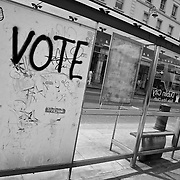 """The Words """"Vote No"""" are spray painted on a Dublin City bus shelter in an act of graffiti protesting an upcoming referendum"""