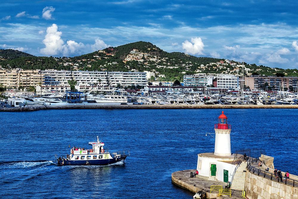 Lighthouse in the harbor, Ibiza, Eivissa, Balearic Islands, Spain