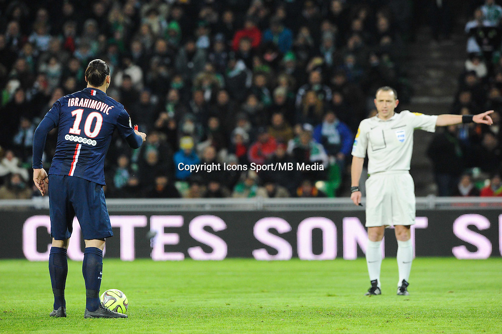 Zlatan IBRAHIMOVIC / Ruddy BUQUET - 25.01.2015 - Saint Etienne / PSG - 22eme journee de Ligue1<br /> Photo : Jean Paul Thomas / Icon Sport