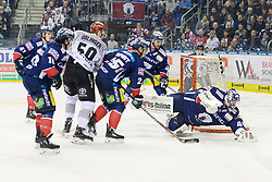01.03.2019, O2 World, Berlin, GER, DEL, Eisbaeren Berlin vs Koelner Haie, 52. Runde, im Bild Kevin Poulin - Eisbaeren, rettet mit Hechtsprung // during the DEL 52th round match between Eisbaeren Berlin and Koelner Haie at the O2 World in Berlin, Germany on 2019/03/01. EXPA Pictures © 2019, PhotoCredit: EXPA/ Eibner-Pressefoto/ Uwe Koch<br /> <br /> *****ATTENTION - OUT of GER*****