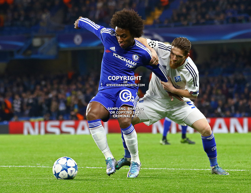 LONDON, ENGLAND - NOVEMBER 04: Willian of Chelsea is fouled by Vitorino Antunes of Dynamo Kyiv  during the Champions League match between Chelsea and Dynamo Kyiv at Stamford Bridge on November 04, 2015 in London, United Kingdom. (Photo by Mitchell Gunn/Getty Images) ***Local Caption***Willian;Vitorino Antunes