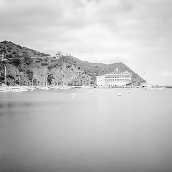 Catalina Island Avalon Bay black and white picture with the Catalina Casino and mountains