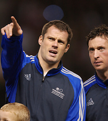 Manchester, England - Tuesday, March 13, 2007: Liverpool players Jamie Carragher and Robbie Fowler before appearing for a Europe all-star XI against Manchester United during the UEFA Celebration Match at Old Trafford. (Pic by David Rawcliffe/Propaganda)