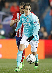 15-03-2016 ESP, UEFA CL, Atletico Madrid - PSV Eindhoven, Madrid<br /> Atletico de Madrid's Koke Resurrecccion (l) and PSV Eindhoven's Andres Guardado // during the UEFA Champions League Round of 16, 2nd Leg match between Atletico Madrid and PSV Eindhoven at the Estadio Vicente Calderon in Madrid, Spain on 2016/03/15. <br /> <br /> ***NETHERLANDS ONLY***