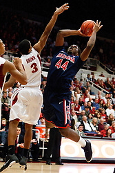 February 3, 2011; Stanford, CA, USA;  Arizona Wildcats forward Solomon Hill (44) shoots past Stanford Cardinal guard/forward Anthony Brown (3) during the second half at Maples Pavilion.  Arizona defeated Stanford 78-69.