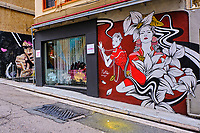 Chine, Hong Kong, Hong Kong Island, quartier branché de Soho, Hollywood road, peinture murale // China, Hong Kong, Hong Kong Island, Soho in Hollywood road, wall painting