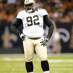 August 17, 2012; New Orleans, LA, USA; New Orleans Saints defensive tackle Remi Ayodele (92) against the Jacksonville Jaguars during the first half of a preseason game at the Mercedes-Benz Superdome. Mandatory Credit: Derick E. Hingle-US PRESSWIRE