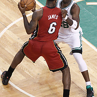 07 June 2012: Boston Celtics small forward Mickael Pietrus (28) defends on Miami Heat small forward LeBron James (6) during first half of Game 6 of the Eastern Conference Finals playoff series, Heat at Celtics at the TD Banknorth Garden, Boston, Massachusetts, USA.