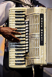 03 May 2015. New Orleans, Louisiana.<br /> The New Orleans Jazz and Heritage Festival. <br /> Buckwheat Zydeco plays the Blues tent.<br /> Photo; Charlie Varley/varleypix.com