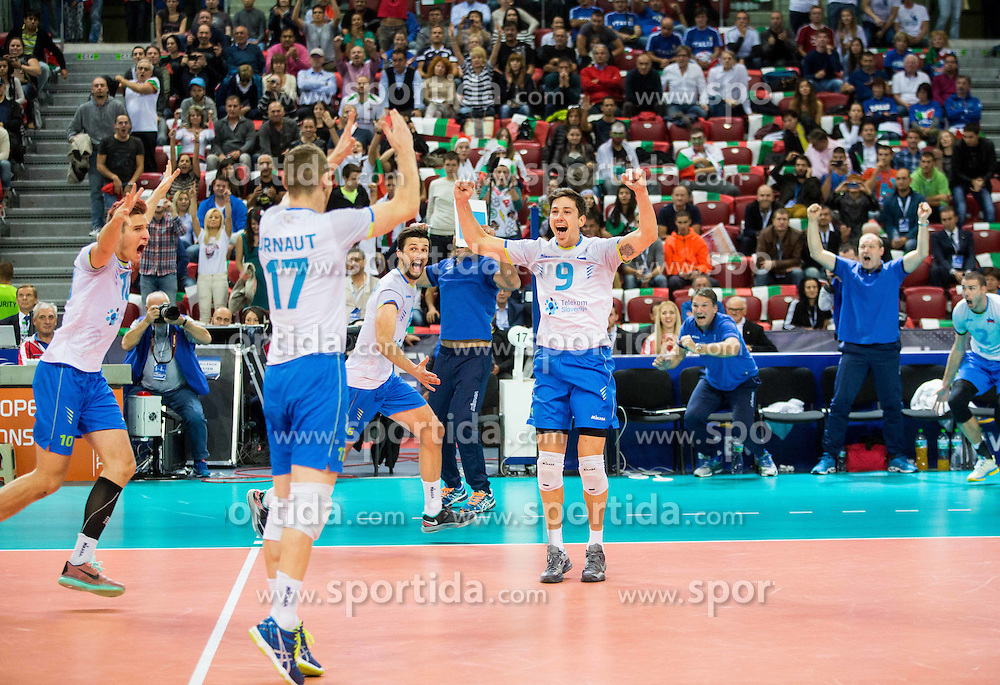 Jan Kozamernik #10 of Slovenia, Tine Urnaut #17 of Slovenia, Mitja Gasparini #6 of Slovenia, Dejan Vincic #9 of Sloveniacelebrate after winning during volleyball match between National teams of Slovenia and Italy in 1st Semifinal of 2015 CEV Volleyball European Championship - Men, on October 17, 2015 in Arena Armeec, Sofia, Bulgaria. Photo by Vid Ponikvar / Sportida