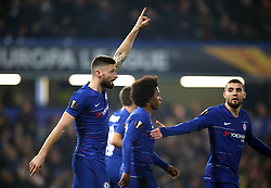 Chelsea's Olivier Giroud (left)celebrates scoring his side's first goal of the game