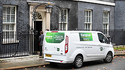 © Licensed to London News Pictures. 28/11/2018. LONDON, UK.  A EuropCar rental van is seen outside Number 10 Downing Street.  Prime Minister, Theresa May, is facing an increasing challenge to lobby support for her EU Brexit deal and MPs will vote whether to accept it in the House of Commons on December 9th.  Photo credit: Stephen Chung/LNP