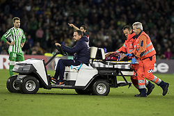 November 8, 2018 - Seville, Spain - MATEO MUSSACCHIO of Milan leaves the pitch injured during the Europa League Group F soccer match between Real Betis and AC Milan at the Benito Villamarin Stadium (Credit Image: © Daniel Gonzalez Acuna/ZUMA Wire)