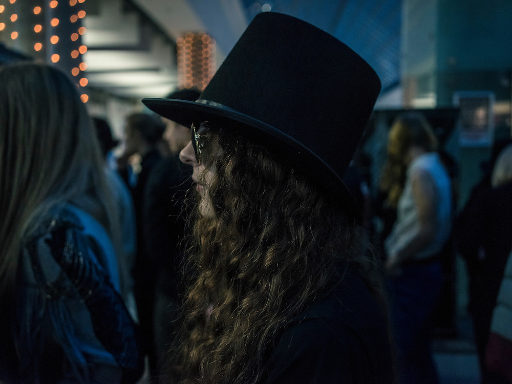 A fan waits to attend a concert by Slash at Prime Hall on Sunday, November 22, 2015 in Minsk, Belarus.