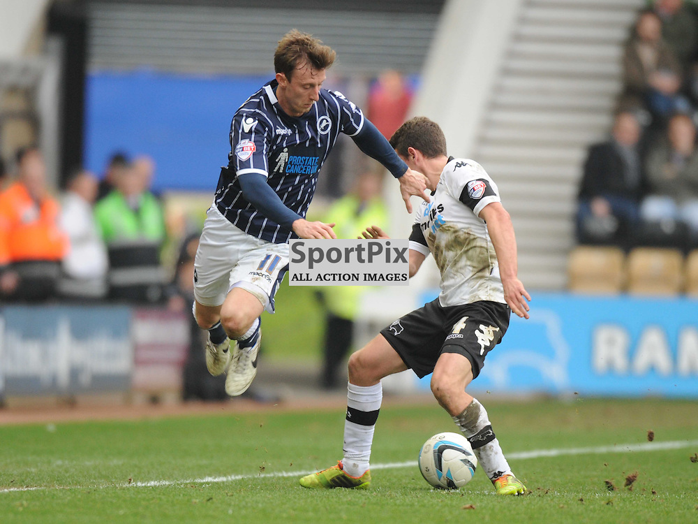 Derbys Craig Bryson Brings down Millwalls Martyn Woolford, Derby County v Millwall Sky Bet Championship, Pride Park, Saturday 8th March 2014