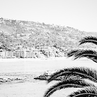 Laguna Beach panorama photo in black and white. Panoramic photo ratio is 1:3. Laguna Beach is a popular coastal town in Orange County Southern California.