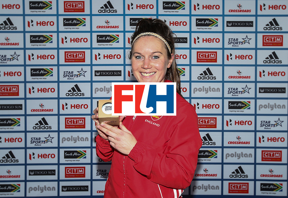 JOHANNESBURG, SOUTH AFRICA - JULY 18:  Laura Unsworth of England poses with her milestone award commemorating 200 caps during day 6 of the FIH Hockey World League Women's Semi Finals quarter final match between England and India at Wits Univesity on July 18, 2017 in Johannesburg, South Africa.  (Photo by Jan Kruger/Getty Images for FIH)