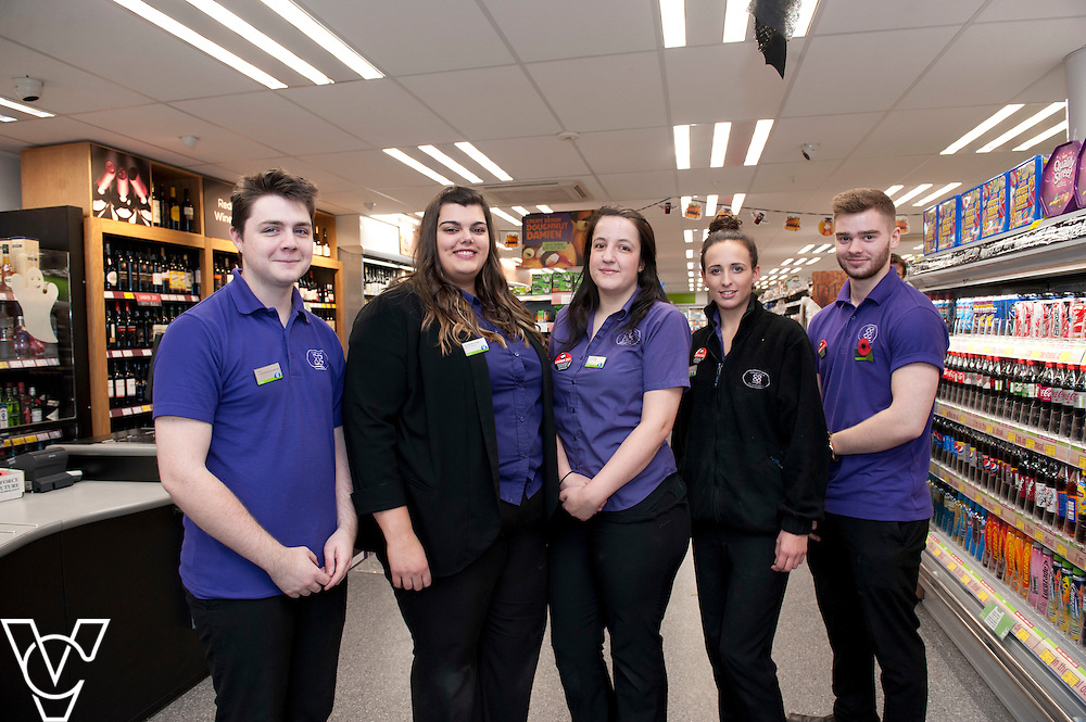 Pictured is the Lincolnshire Co-operative Washingborough Food Store team, from left, Scott Farley, store manager Rachelle Richardson, Emily Smejka, Olivia Rattigan and Anthony Beal<br /> <br /> Official re-opening of the refurbished Washingborough Food Store and precinct, which includes the Co-op Pharmacy.<br /> <br /> Date: October 30, 2015<br /> Picture: Chris Vaughan/Chris Vaughan Photography