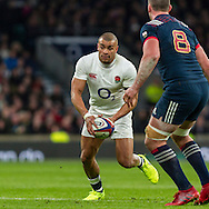 Jonathan Joseph in action, England v France in a RBS 6 Nations match at Twickenham Stadium, London, England, on 4th February 2017.