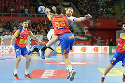 during handball match between National teams of Spain and Czech Republic on Day 2 in Preliminary Round of Men's EHF EURO 2018, on Januar 13, 2018 in Skolsko Sportska Dvorana, Varazdin, Croatia. Photo by Mario Horvat / Sportida