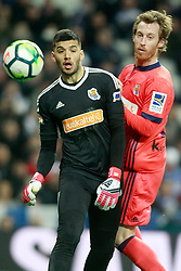 Real Sociedad's Geronimo Rulli (l) and David Zurutuza during La Liga match. Madrid, Spain, on February 10, 2018. Photo by Acero/AlterPhotos/ABACAPRESS.COM
