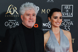 Spanish filmmaker Pedro Almodovar and actress Penelope Cruz pose as they arrive at the red carpet of the 33rd Goya Awards, celebrated at the Conference Center, in Seville, southern Spain, February 2, 2019. Photo by Archie Andrews/ABACAPRESS.COM