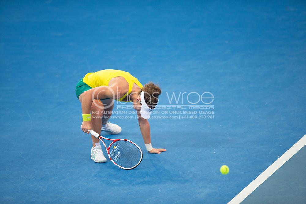 Samantha Stosur (AUS), April 20, 2014 - TENNIS : Fed Cup, Semi-Final, Australia v Germany. Pat Rafter Arena, Brisbane, Queensland, Australia. Credit: Lucas Wroe