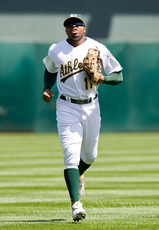 April 18, 2010; Oakland, CA, USA;  Oakland Athletics center fielder Rajai Davis (11) during the third inning against the Baltimore Orioles at Oakland-Alameda County Coliseum. Baltimore defeated Oakland 8-3.