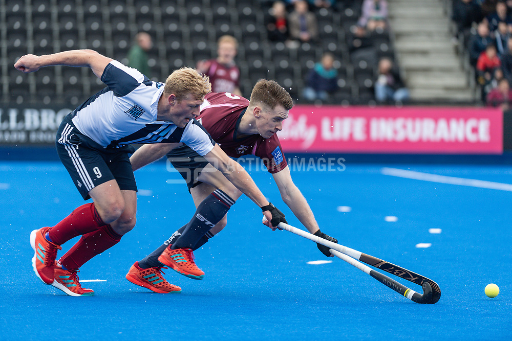 Hampstead & Westminster's Rupert Shipperley. Wimbledon v Hampstead & Westminster - Men's Hockey League Finals, Lee Valley Hockey & Tennis Centre, London, UK on 28 April 2018. Photo: Simon Parker