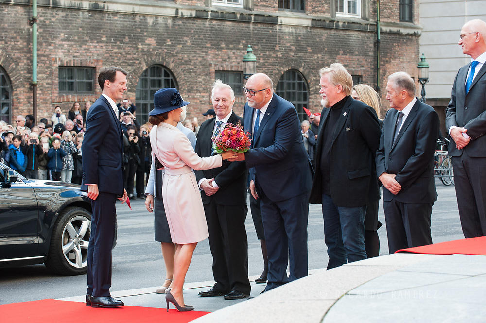 03.10.2017. Copenhagen, Denmark. <br /> Princess Marie and Prince Joachim arrival to Christiansborg Palace for attended the opening session of the Danish Parliament (Folketinget).<br /> Photo: &copy; Ricardo Ramirez