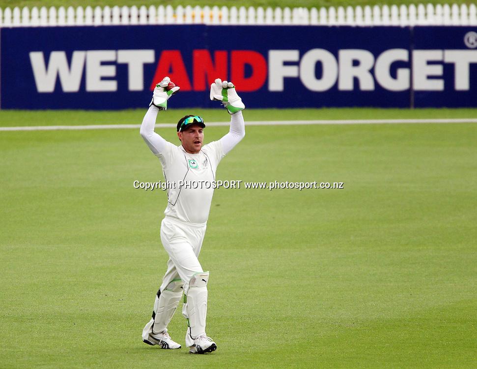New Zealand's Brendon McCullum celebrates the wicket of Shahadat Hossain.<br />Day 3. Test match cricket. One off test.<br />New Zealand Black Caps versus Bangladesh.<br />Seddon Park, Hamilton, New Zealand.<br />Tuesday 17 February 2010.<br />Photo: Andrew Cornaga/PHOTOSPORT