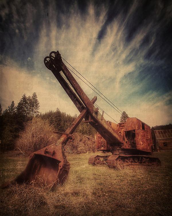 Abandoned crane in woodland