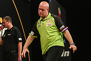Michael van Gerwen misses a shot at a double during the BWIN Grand Slam of Darts at Aldersley Leisure Village, Wolverhampton, United Kingdom on 18 November 2018.
