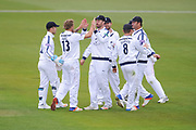 Hampshire celebrate the wicket of Sam Robson of Middlesex during the Specsavers County Champ Div 1 match between Hampshire County Cricket Club and Middlesex County Cricket Club at the Ageas Bowl, Southampton, United Kingdom on 14 April 2017. Photo by David Vokes.