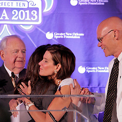 Sep 2, 2009; New Orleans, LA, USA; Tom Benson and Rita Benson LeBlanc (left) introduce committee co-chairs Mary Matalin and James Carville (right) during a Super Bowl XLVII press conference at the New Orleans Convention Center and Bureau.   Mandatory Credit: Derick E. Hingle