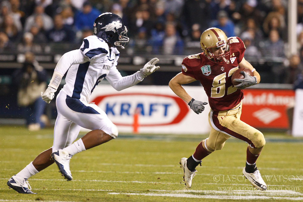 January 9, 2011; San Francisco, CA, USA;  Boston College Eagles wide receiver Alex Amidon (83) rushes towards Nevada Wolf Pack cornerback Doyle Miller (6) during the fourth quarter of the 2011 Fight Hunger Bowl at AT&T Park. Nevada defeated BC 20-13.
