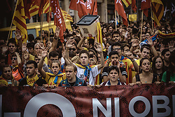 October 1, 2018 - Barcelona, Catalonia, Spain - Striking Catalan pro-independence students march through Barcelona as they protest for the implementation of the secession referendum's result at its anniversary at October 1st. (Credit Image: © Matthias OesterleZUMA Wire)