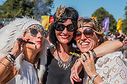 Sarah Youngson's (white headdress) Latitude hen party on a day trip from Lowestoft - The 2018 Latitude Festival, Henham Park. Suffolk 14 July 2018