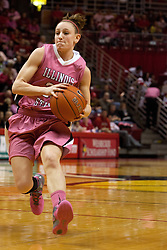12 February 2012:  Jamie Russell during an NCAA women's basketball game Where the Bradley Braves lost to the Illinois Sate Redbirds 82-63.  It was Play 4Kay day in honor of the cancer research fund set up by Coach Kay Yow at Redbird Arena in Normal IL