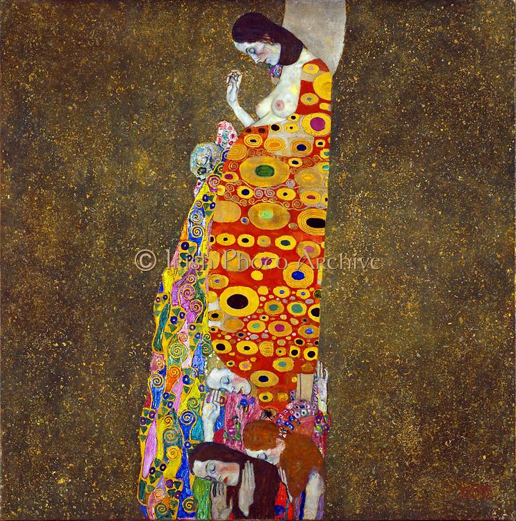 Gustav Klimt, Austrian artist. Hope II, Oil, gold, and platinum on canvas 1908